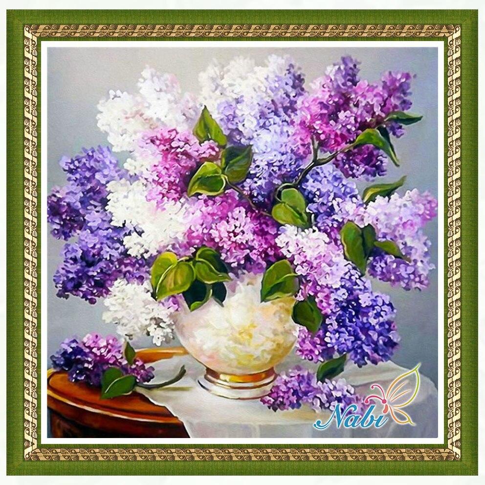 Vaso de flor paletas de sombras dmc beadwork 2261R-Quadrado mosaico diamante pintura Diamante bordado ponto cruz
