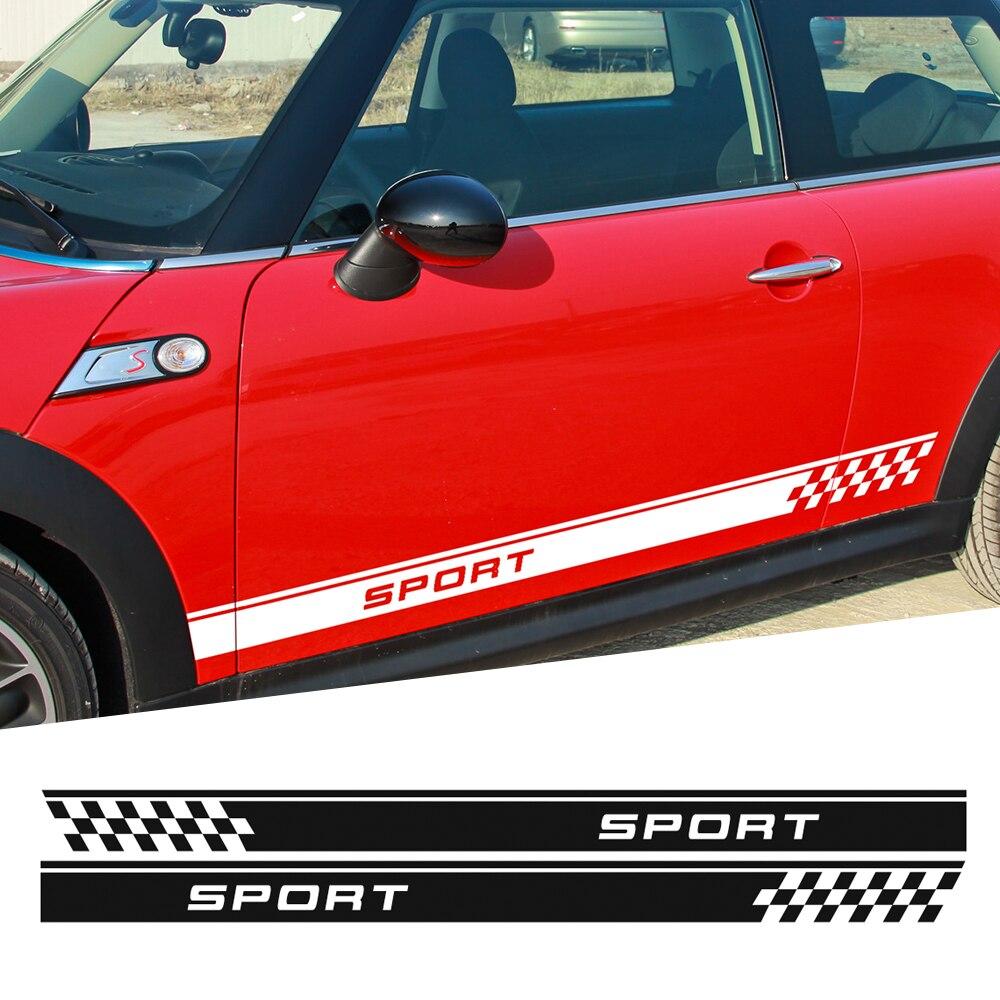 Autocollant à rayures latérales de porte   Drapeau de Sport pour MINI Cooper One S Countryman R60 Paceman R61 F55 F56 R56 R50 R53, style de voiture