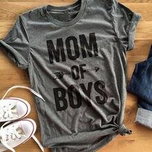 Nieuwe mode vrouwen casual shirt brief MOM VAN JONGENS t-shirt rood grijs korte mouw tee shirt dame shirt
