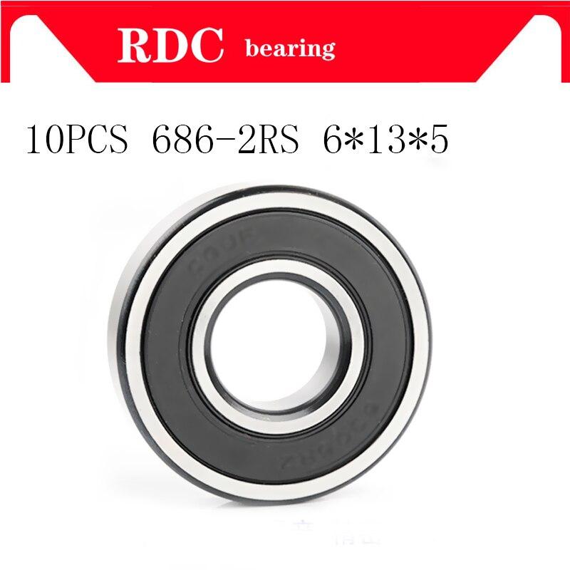 10PCS ABEC-5 686 2RS 686RS 686-2RS 686 RS L1360 6x13x5mm 6 * 13*5mm doppel Gummi dichtung Hohe qualität Rillen Kugellager