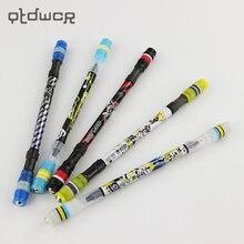 1 pc legal girando caneta rotativa caneta esferográfica jogo não deslizamento revestido rotação rolando caneta tinta azul recarga matting dedo jogando caneta