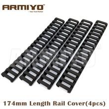"Armiyo 18 Slot Snap on 7"" 174mm Length Airsoft Ladder Rubber Barrel Handguard Protector 20mm Rail Shooting Accessories"