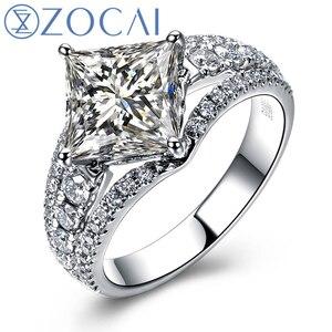 Обручальное кольцо ZOCAI из белого золота с разрезом на хвостовике, 1,6 карат, с бриллиантами в форме принцессы, W03761