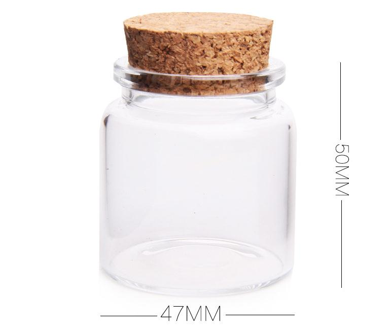 Frasco de almacenamiento de tapa de corcho de vidrio reciclado de 50 ml, colgante de frasco de botella de vidrio pequeño con corcho SN672