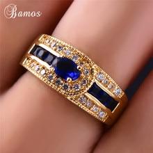 Bamos Mode Vrouwelijke Blauw Volledige Stone Ring 18KT Geel Gouden Ringen Gorgeous Wedding Bands Voor Vrouwen Engagement Sieraden Beste Cadeaus