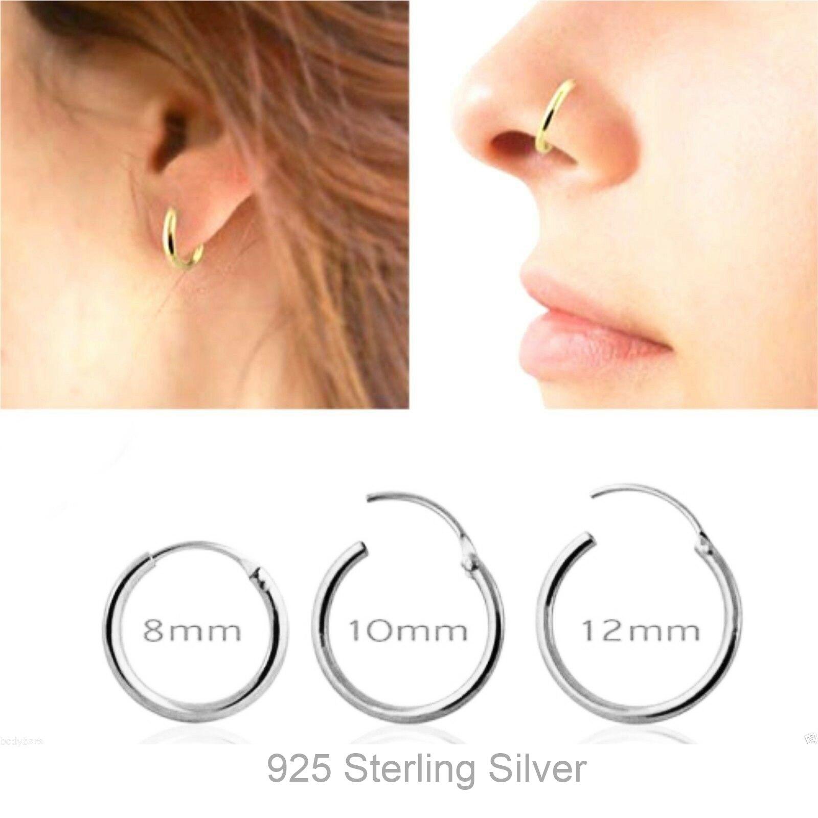 10pcs/lot 925 Sterling Silver Segment Hoop Nose Ring  septum Clicker Tragus Cartilage Ear piercing 8mm 10mm 12mm