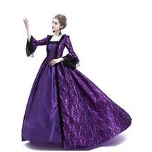 Terciopelo púrpura-flocado enmascarado vestido de baile gótico encaje plisado ropa Civil War Costume renacentista personalizado-Make Dress