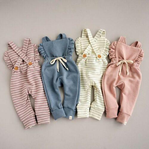 PUDCOCO bebé niña niño ropa chico volante para niña pequeña babero pantalones-mono trajes de algodón ropa de ropa para bebé recién nacido