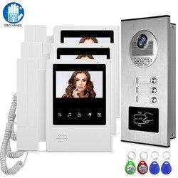Wired Home 4.3 TFT RFID Sistema de Vídeo Intercom Doorbell Câmera com 2/3/4 Monitor de Interfone para multi Apartamento EM Chave de Desbloqueio