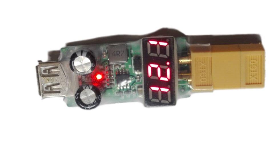 Gran oferta 2 S-6 S Lipo convertidor de batería USB XT60 enchufe T adaptador cargador de móvil