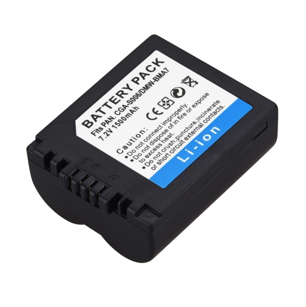 1 шт. 1500 мАч CGA-S006 DMW-BMA7 запасная батарея для Panasonic Lumix CGR-S006E FZ8 FZ18 FZ35 FZ28 FZ38 FZ30 камера