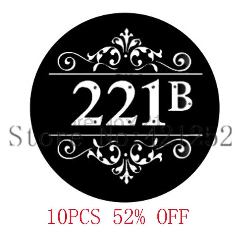 221B Baker St inspirado en Sherlock Holmes cristal cabujón de la foto collar llavero marcador gemelos pendiente