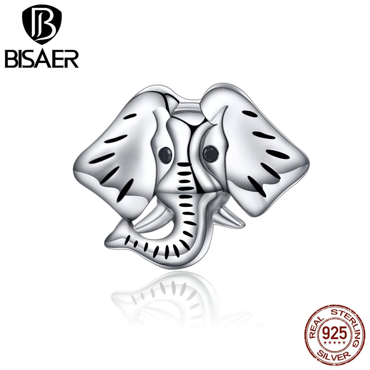 Prata esterlina 925 orientação floresta suave animal elefante encantos caber encantos pulseiras & colar diy acessórios ecc173