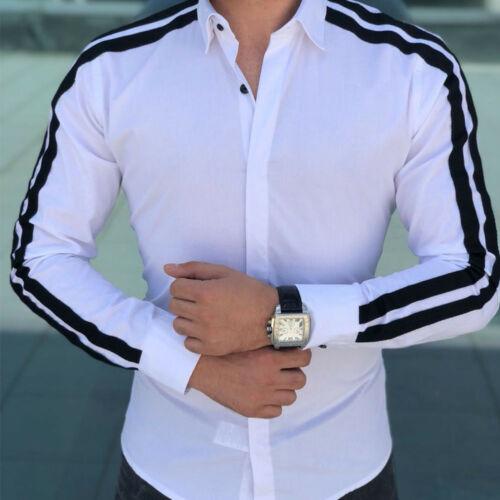 Fashion Men Shirts Business Shirt Long Sleeve Slim Fit Tops 2019 White Red Black Smart Male Social Dress Shirt Plus