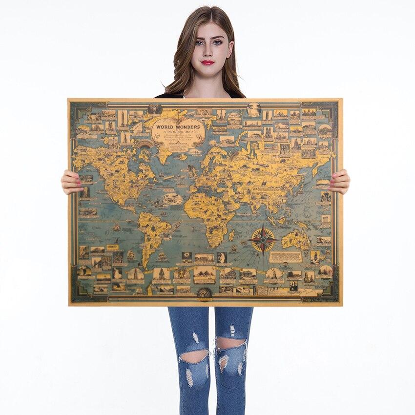1PC en el edificio del mundo Kraft cartel de papel de etiqueta de la pared de arte mapa Bar-café Café arte decoración Fondo azul 68.5X51.5cm