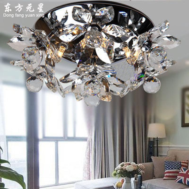 Потолочный светильник с кристаллами, светодиодный светильник с цветами и кристаллами для помещения, гостиной, спальни, столовой, украшения,...