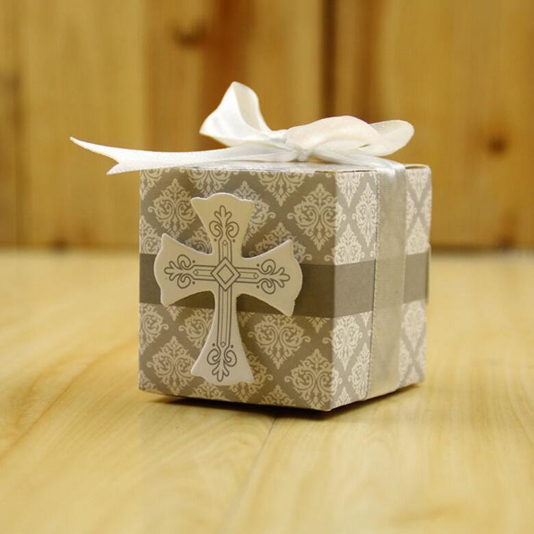100 unids/lote caja de regalo creativa rústica y caja de papel Kraft de recuerdo de encaje con cinta decoración de boda y fiesta caja de papel caja de dulces cruzada