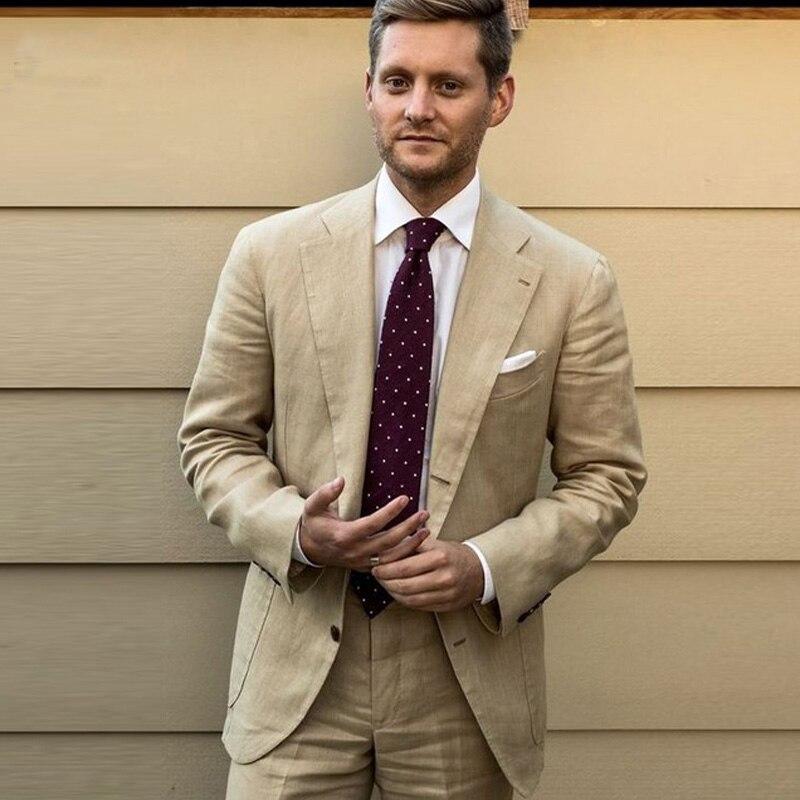 Льняной мужской блейзер цвета хаки, для деловых встреч, Slim Fit, смокинги для свадьбы, мужской костюм из 2 предметов (куртка + брюки), костюм для ж...