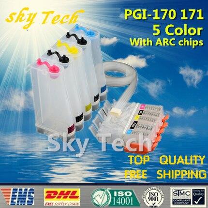 5 Farbe Leere CISS Anzug für PGI170 CLI171, PGI-170 CLI-171 CISS anzug für Canon MG5710 MG6810 MG7710 etc, mit ARC-Chips