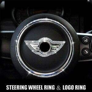 Автомобильное рулевое колесо, яркий бриллиантовый логотип, кольцо-наклейка, декоративный чехол для Mini Cooper