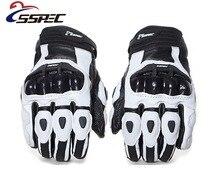 SSPEC neutre moto course fibre de carbone incassable résistant à leau court gants en cuir blanc et noir