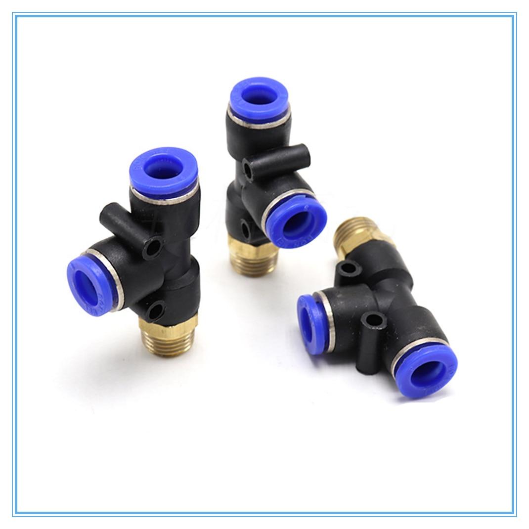 """Conector neumático 4-12mm Tubo de manguera en forma de T Conexión de aire 1/4 """"1/8"""" 3/8 """"1/2"""" BSP rosca macho acoplador de tubo de 3 vías"""