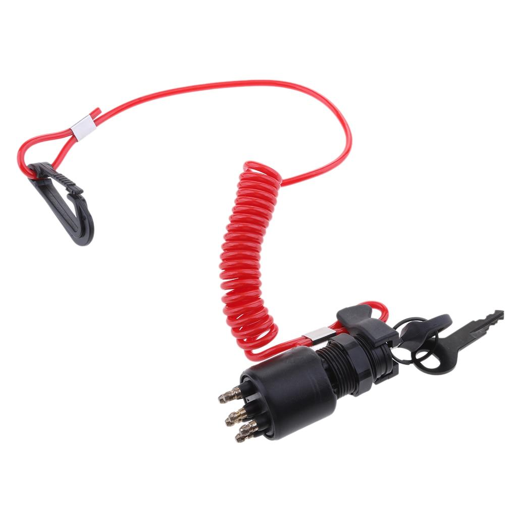 Interrupteur dallumage 175974 5005801 et assemblage de clé   Avec lanière pour moteur hors-bord OMC Johnson Evinrude 40-200HP