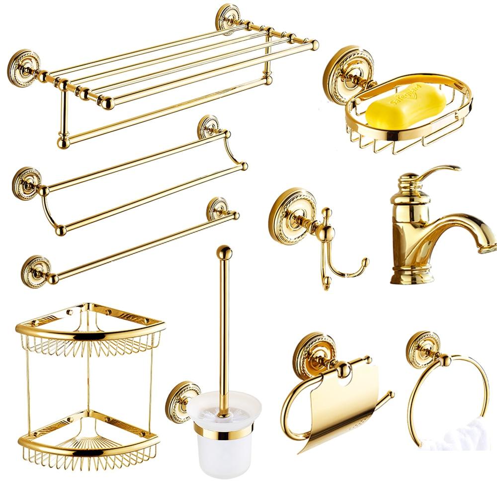 Shiny Brass Gold paper towel rack european bathroom pendant suit Bath accessories creative robe hook double shower shelves