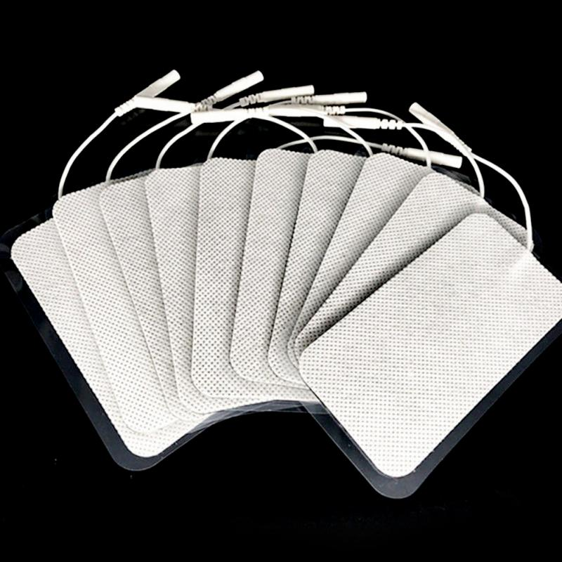10pcs/lot Electrode Pads for Tens Units White Cloth for Slimming Massage Digital Therapy Machine Massager 5x10 cm 30pairs professional square tens ems replacement electrode pads self adhesive nowoven patch for digital physiotherapy massager