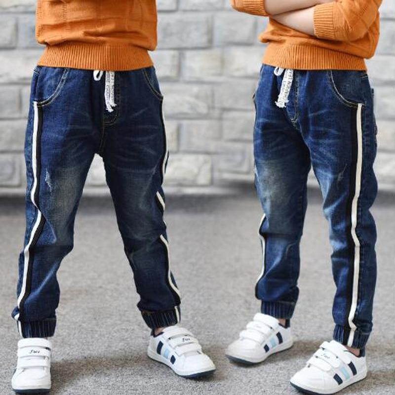 Hot Sale 2020 Autumn New Kids Jeans Elastic Waist Stretch Denim Pants Children Clothing For 4-14Yrs Big Virgin Korean Pants Feet