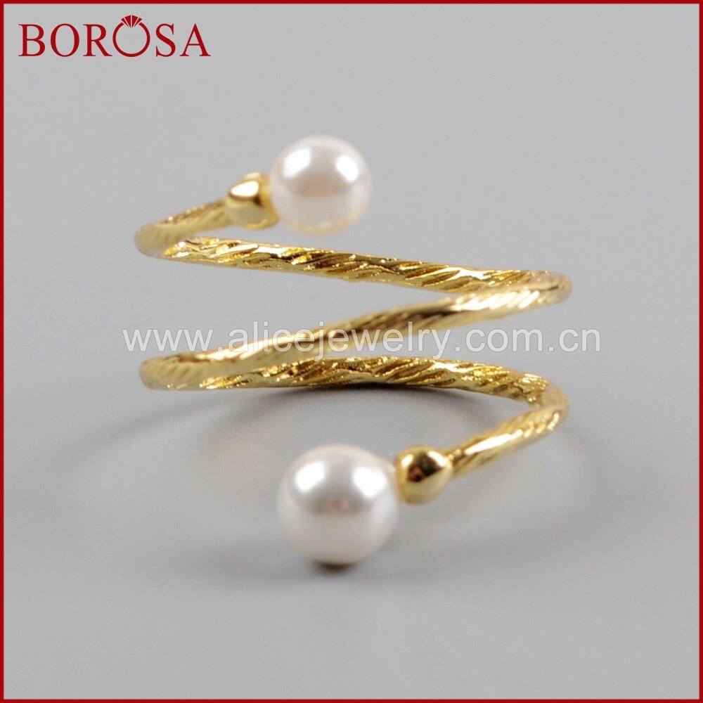 BOROSA 10/15 Uds. Anillos de envoltura de cable de Triple capa de perla Natural galvanizada en oro WX1024