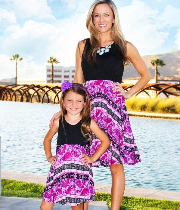 Por encima de la rodilla madre hija chaleco vestidos familia Look mamá y yo ropa mamá hija juego trajes ropa