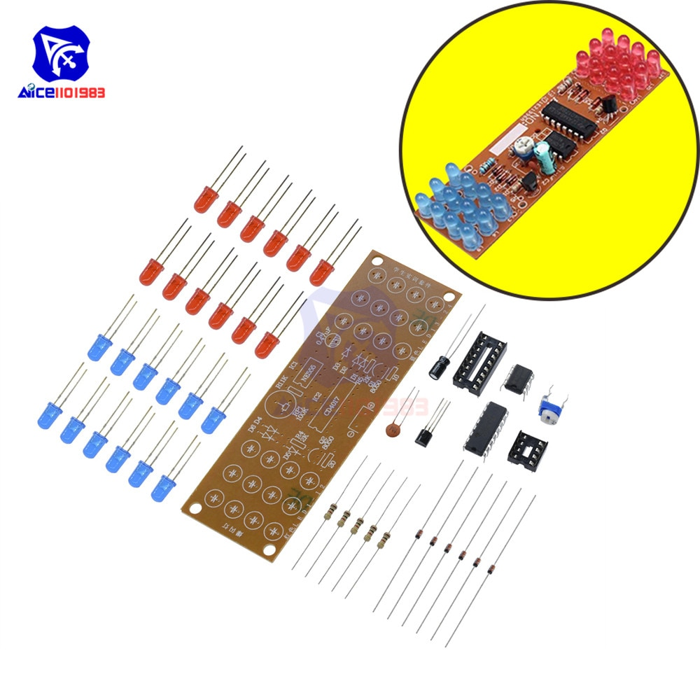 1Set NE555 + CD4017 Practice Learning Kits Red Blue Double Color Flashing Lights Kit Electronic Suite 9-12V DIY for Arduino