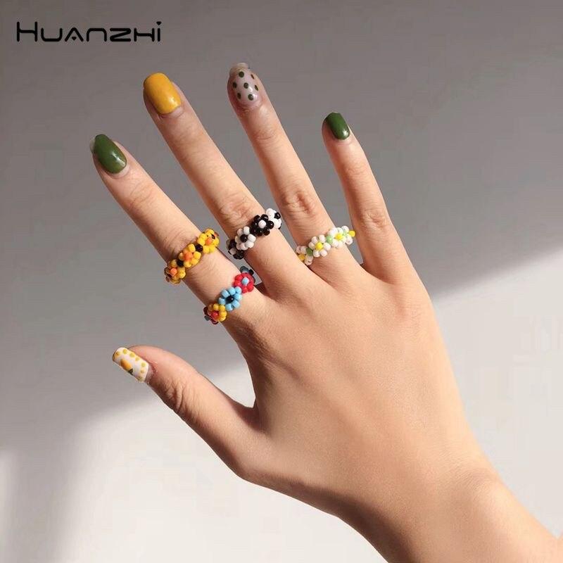 Женские эластичные плетеные кольца HZ, корейские модные разноцветные кольца ручной работы с разноцветными бусинами, 2019