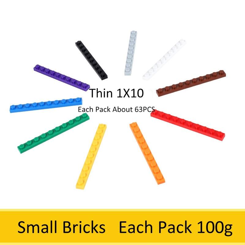 Ladrillos pequeños finos 1X10 a granel 1 paquete de aproximadamente 63 Uds DIY creativo auto bloqueo Juguetes de bloques de construcción para niños Compatible con Legoed