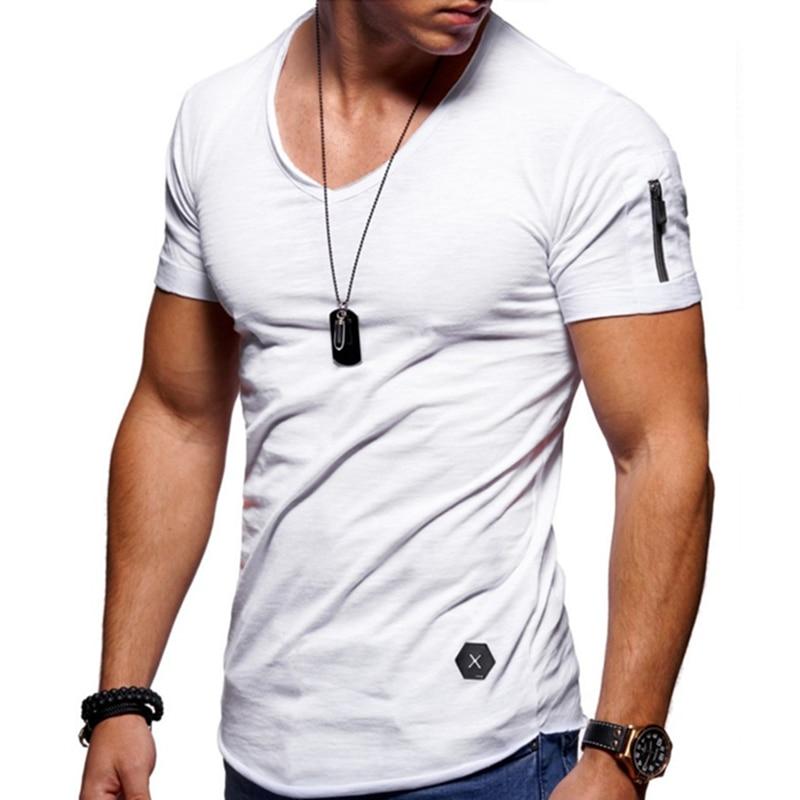 Camiseta entallada de manga con cremallera para hombre, camiseta informal con borde...