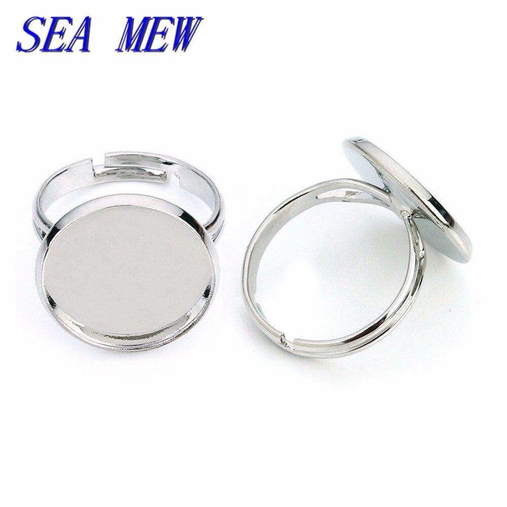 SEA MEW 50 Uds 10/12/14/16/18/20mm cabujón Base anillo Metal cobre anillo rodio plateado anillo en blanco para la fabricación de joyas
