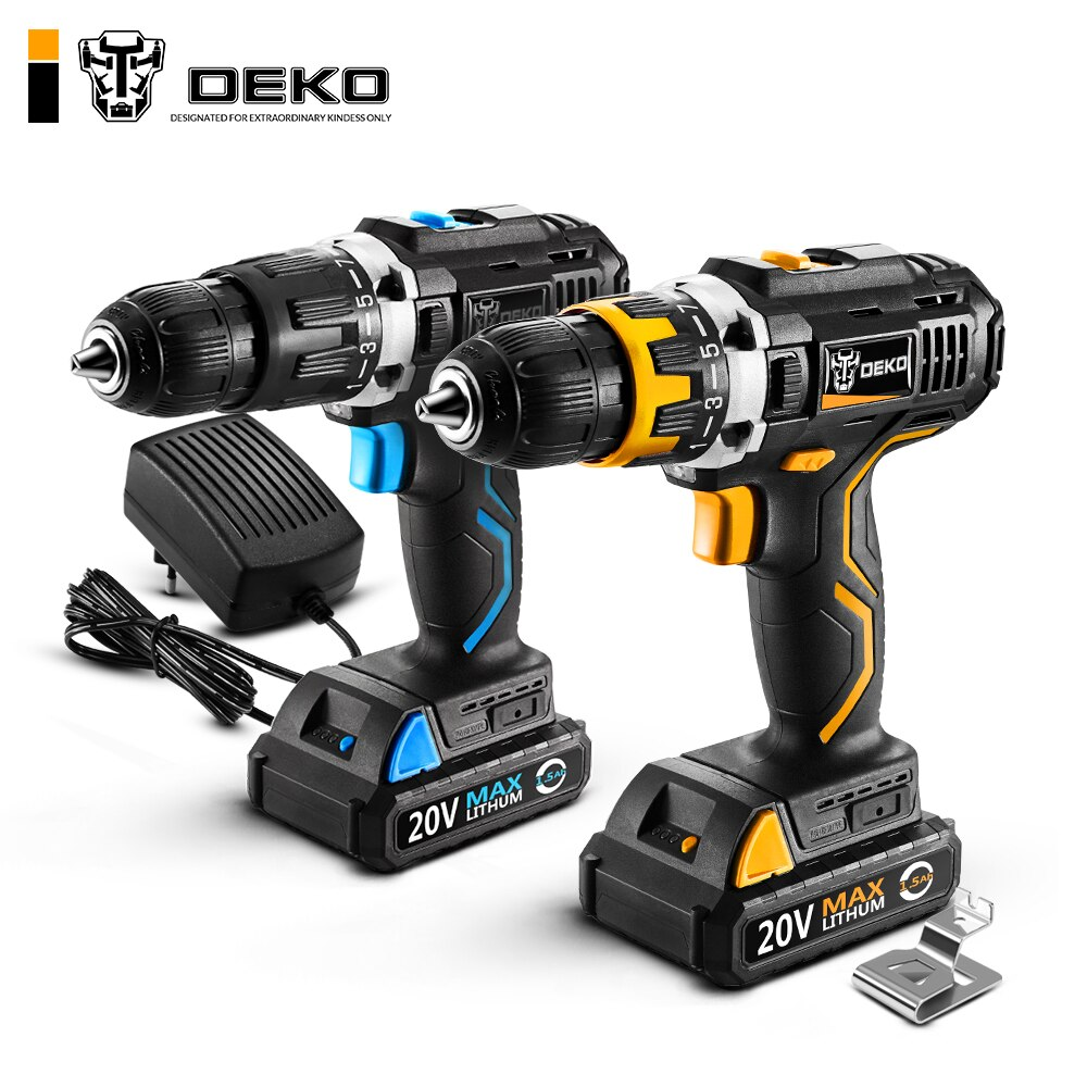 DEKO GCD20DU série 20V Max DC batterie Lithium-Ion 13mm 2 vitesses perceuse électrique sans fil Mini tournevis perceuse à percussion