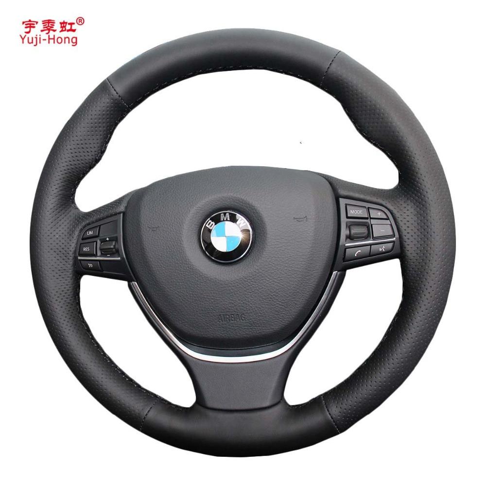 Funda para cubiertas de volante de coche yuji-hong para BMW 5 series 2014 525i 528i 7 series 730i cubierta de cuero Artificial cosida a mano