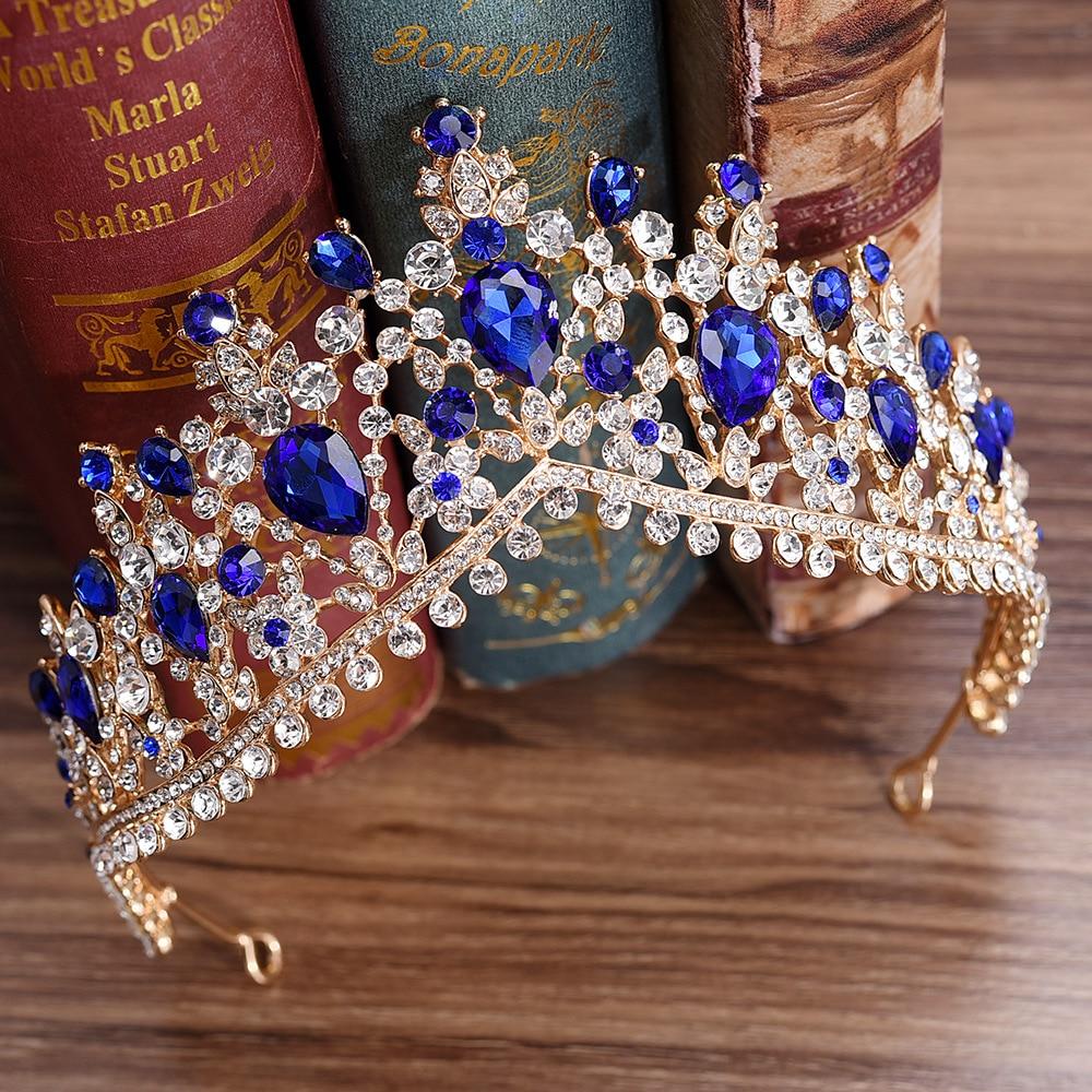 KMVEXO 2020 European Red Green Crystal Big Crown Headwear Bridal Wedding Hair Accessories Jewelry Bride Tiaras Princess Crowns