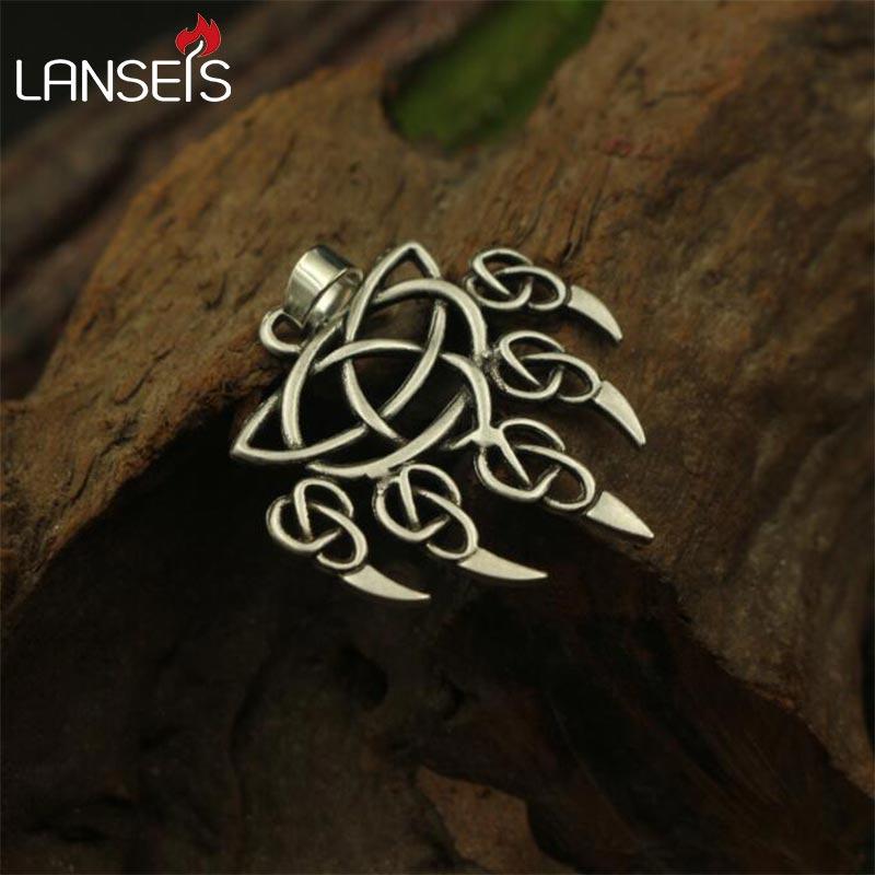 Lanseis 1 шт., Викинг медведь лапа подвеска для мужчин, ожерелье с медвежатой лапой