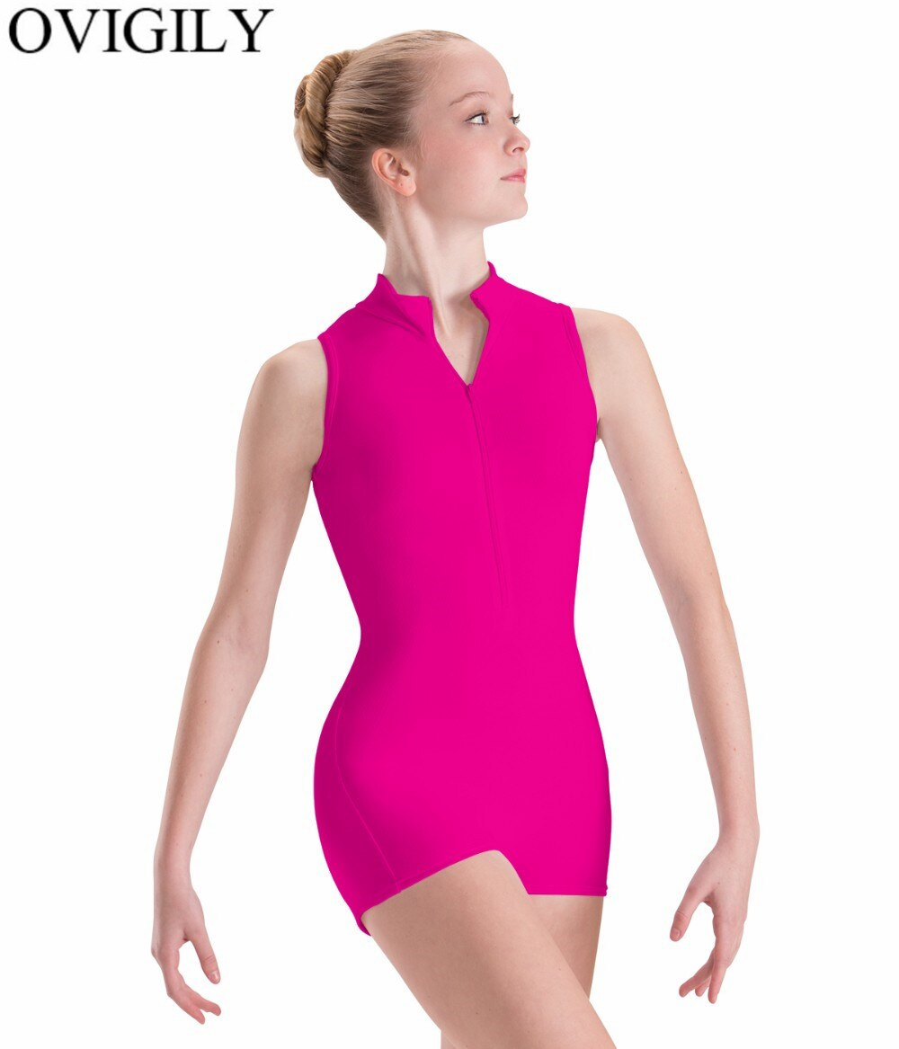 OVIGILY Frente Zip Adulto Tanque Preto Biketard Ginástica Ballet Dancewear Mulheres Spandex Mock Neck Mangas Leotard Curto Unitard
