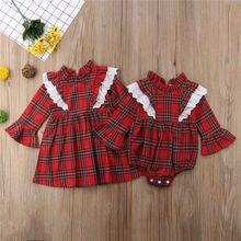 Canis-combinaison en dentelle pour petites filles   Vêtements pour nouveau-né, rouge, Plaid, carreaux pour petites filles 0-24M, Mini robe à manches longues, 3 1-6T