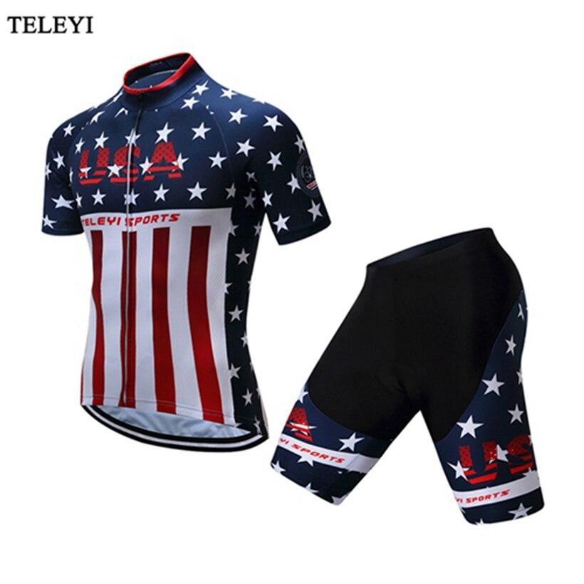 Sportwear ao ar Jerseys de Manga Curta da Bicicleta da Bicicleta Teleyi Livre Bicicleta Ciclismo Vestuário – Visto Camisas Curtas Definidos Eua