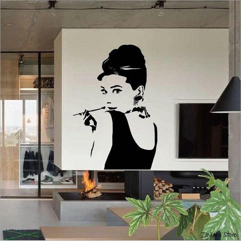 Venta Audrey Hepburn calcomanías De pared dormitorio Sala decoración Adesivo De pared chicas habitación hogar calcomanías Sexy Gilrs decoración H306