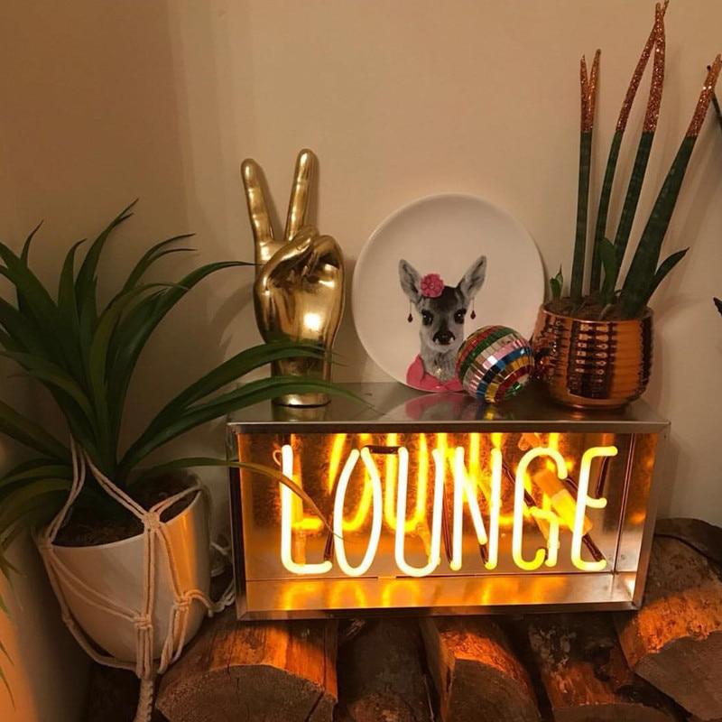 Nuevo diseño Retro tubo de vidrio neón bombilla Lounge/hola/café/bienvenida forma neón rosa amarillo iluminación para la decoración del hogar