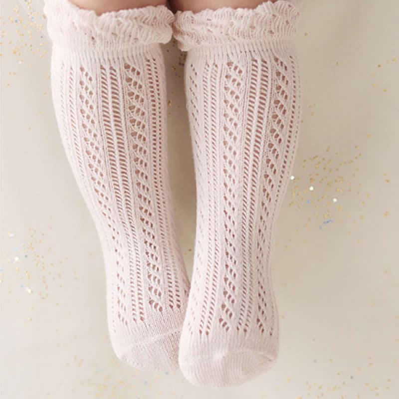 Носки для маленьких девочек хлопковые сетчатые Дышащие носки новорожденных