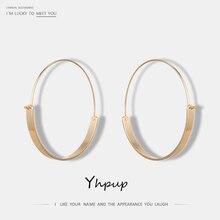 Yhpup 2020 새로운 브랜드 성명 패션 골드 빅 라운드 후프 귀걸이 아연 합금 쥬얼리 유행 매력 서클 귀걸이 여성 선물
