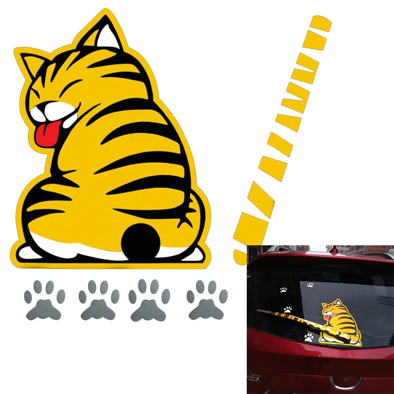 Divertido dibujo animado de gato creativo decoración pegatina con cola móvil Auto vehículo pegatinas para limpiaparabrisas coche decoración de estilo exterior