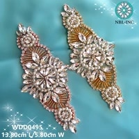 30pcswholesale hand beaded sewing bridal rose gold crystal rhinestone applique iron on for wedding dresses diy sash wdd0495